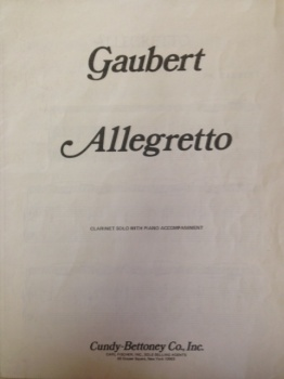 Allegretto Clarinet Solo W/ Piano CU536